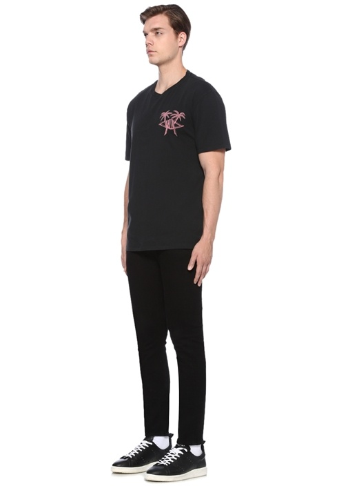 Oversized Fit Siyah Bisiklet Yaka Baskılı T-shirt