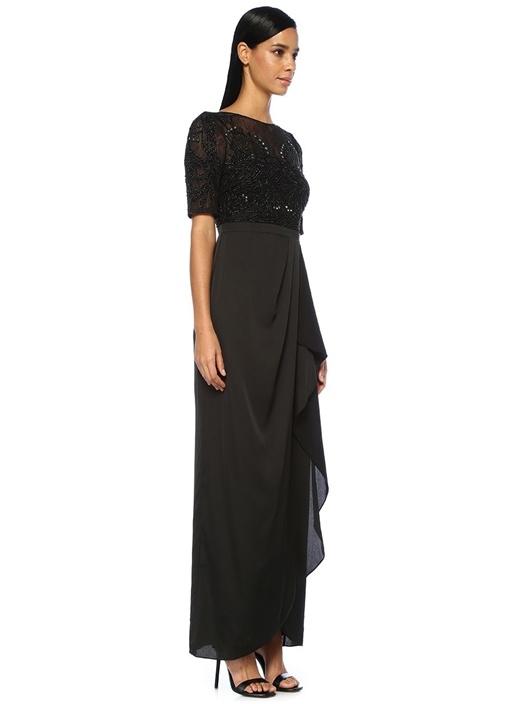 Siyah Üstü İşlemeli Dantelli Maksi Abiye Elbise