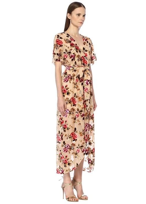 Kadife Çiçekli Kuşaklı Midi Anvelop İpek Elbise