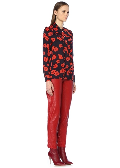 Maryann Lacivert Çiçekli Fırfırlı İpek Gömlek