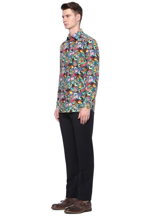 Slim Fit Siyah Klasik Yaka Çiçek Desenli Gömlek