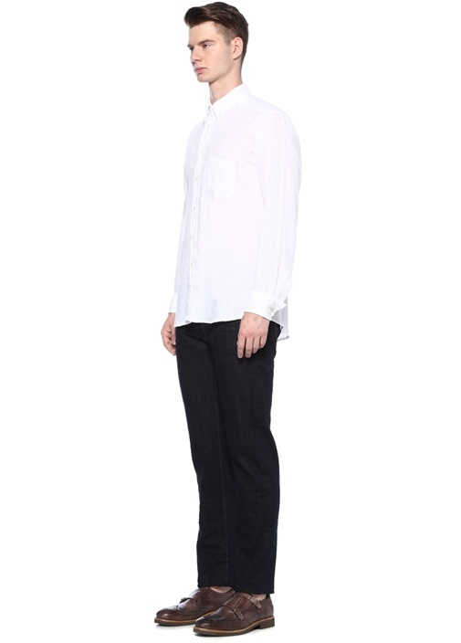 Slim Fit Beyaz Yakası Düğme Kapatmalı Keten Gömlek