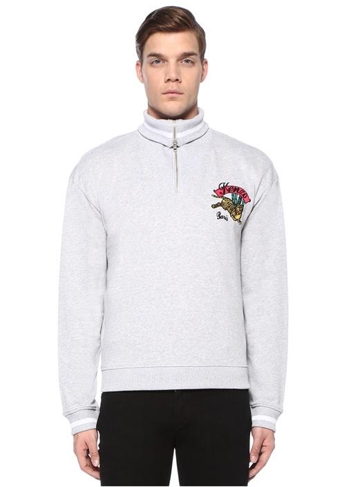 Gri Melanj Yakası Fermuarlı Logolu Sweatshirt