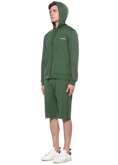 Yeşil Kapüşonlu Logolu Organik Pamuk Sweatshirt