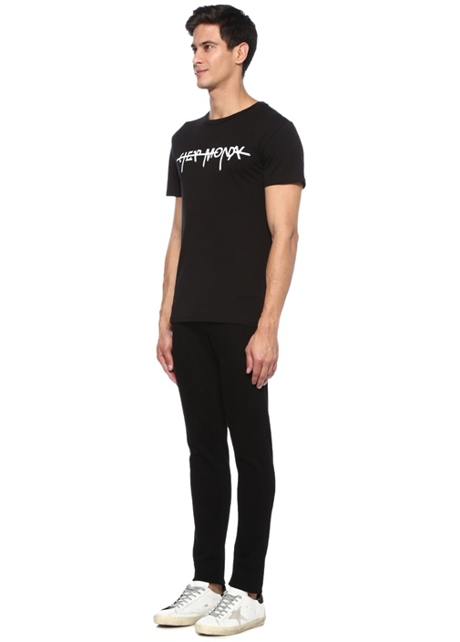 Siyah Bisiklet Yaka Logolu Organik Pamuk T-shirt