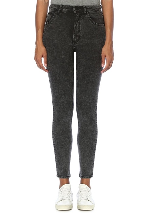 Gri Yüksek Bel Organik Pamuk Skinny Jean Pantolon