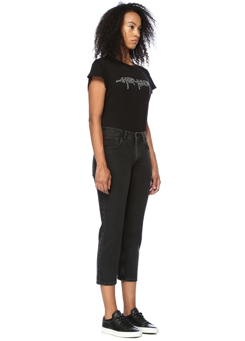 Revive Siyah Yüksek Bel Boru Paça Jean Pantolon