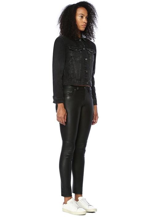 Power Siyah Düğmeli Jean Ceket