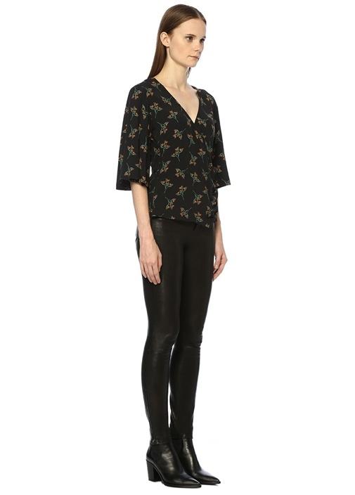 Ferdy Siyah Çiçekli Yanı Düğmeli Anvelop Bluz