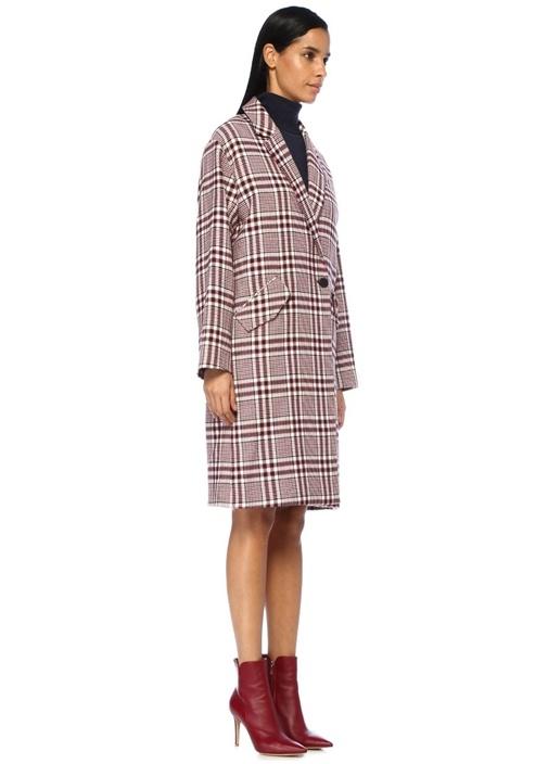 Peyton Kırmızı Kelebek Yaka Ekoseli Uzun Palto