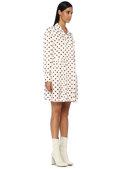 Kevin Beyaz Kelebek Yaka Puanlı Mini Elbise