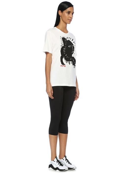 X Shantell Beyaz Önü Baskılı T-shirt