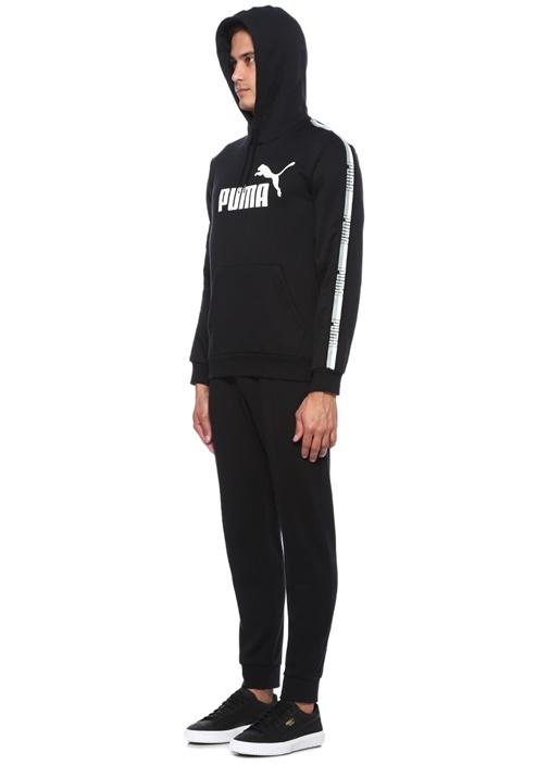 Tape Siyah Kapüşonlu Logo Baskılı Sweatshirt