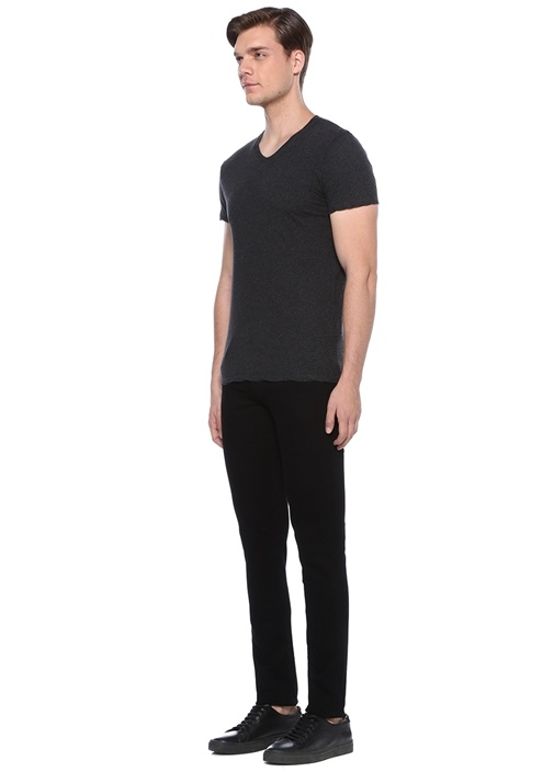 Decatur Antrasit V Yaka Dokulu Basic T-shirt