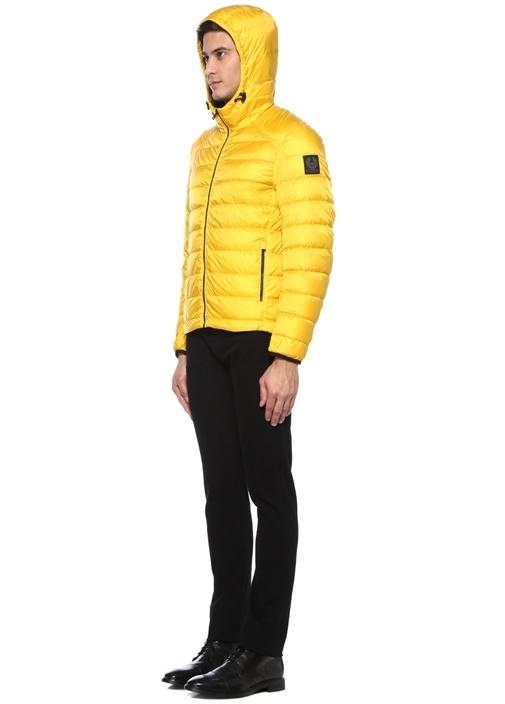 Sarı Kapüşonlu Puff Mont