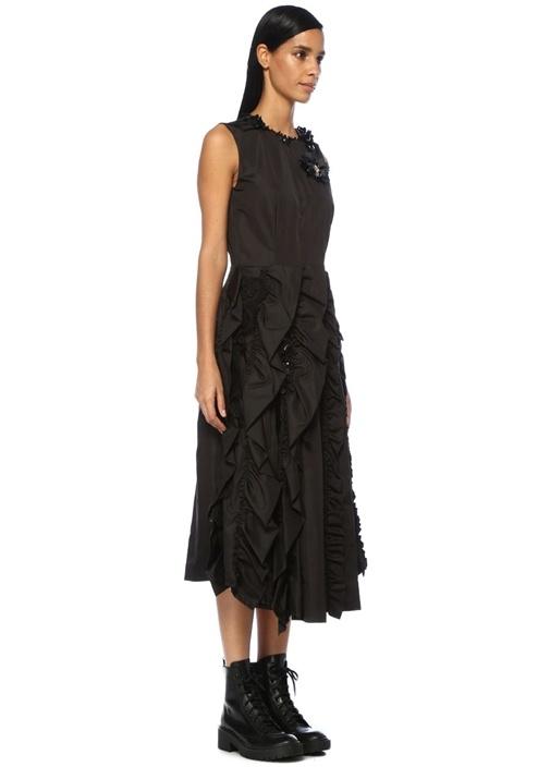 4 Moncler Simone Rocha Siyah İşlemeli Midi Elbise