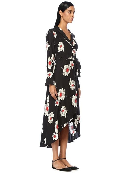 Gowin Siyah Çiçek Desenli İpek Midi Elbise