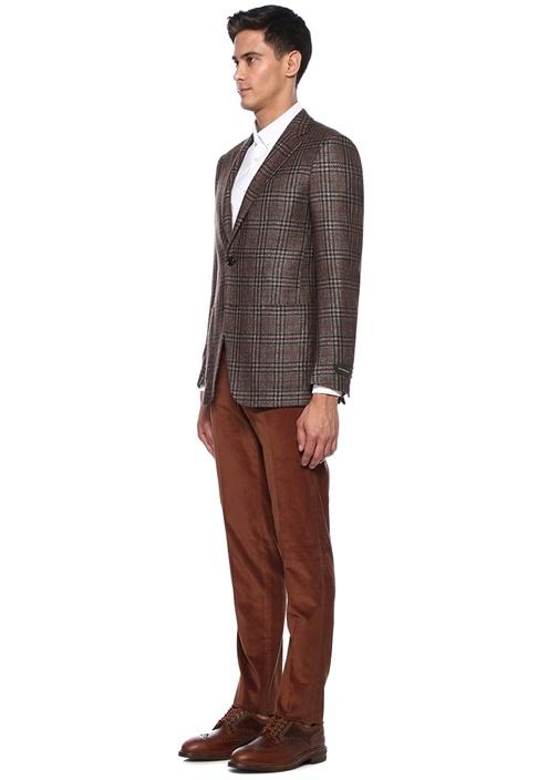 Kahverengi Dar Paça Kadife Pantolon