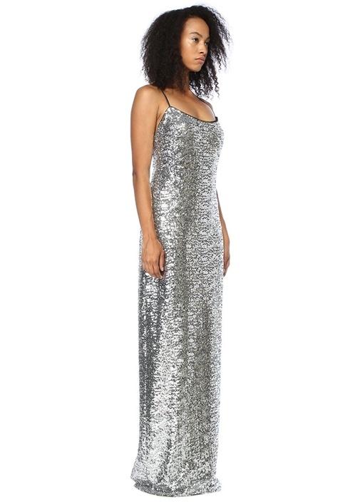 Tatya Silver Pullu Payetli İnce Askılı Elbise