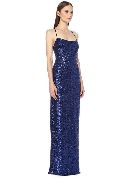 Lacivert Sırtı Çapraz Askılı Payetli Maxi Elbise