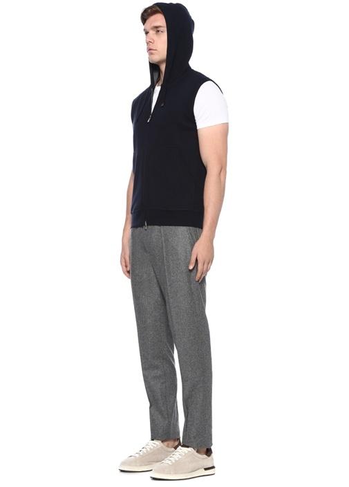 Lacivert Kapüşonlu Kısa Kollu Sweatshirt