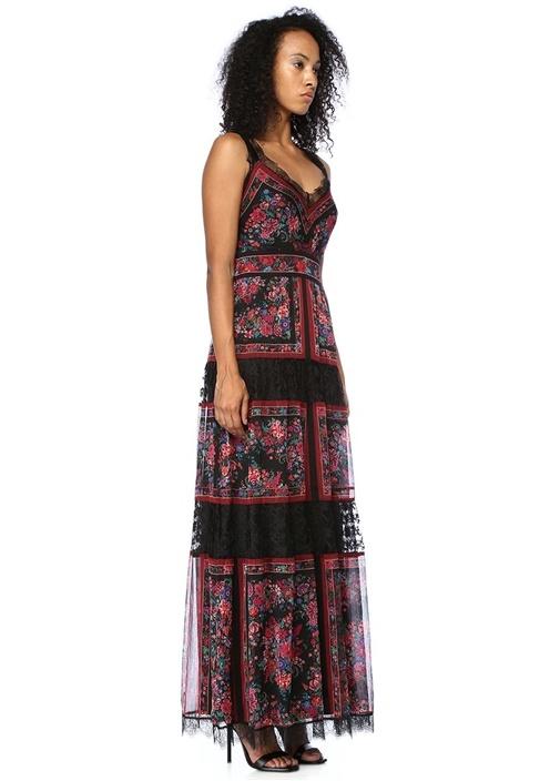 Siyah Çiçekli V Yaka Dantelli Maksi Elbise