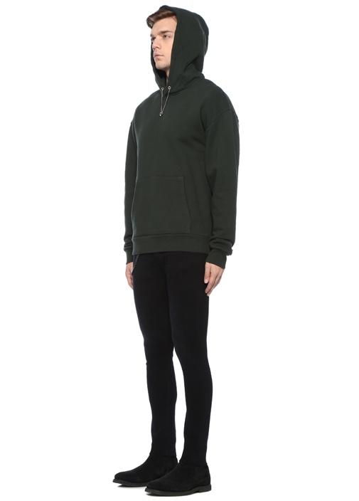 Relaxed Fit Yeşil Kapüşonlu Aksesuarlı Sweatshirt