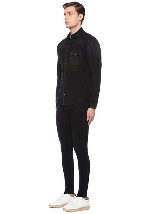 Siyah İngiliz Yaka Denim Gömlek