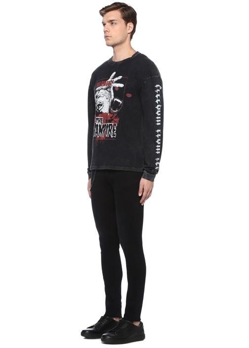 Siyah Bisiklet Yaka Baskılı Uzun Kollu T-shirt