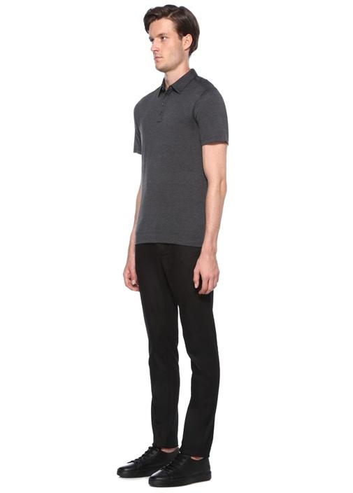Antrasit Polo Yaka Düğmeli İpek T-shirt