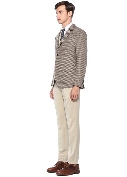 Kahverengi Kazayağı Desenli Broş Detaylı Yün Ceket