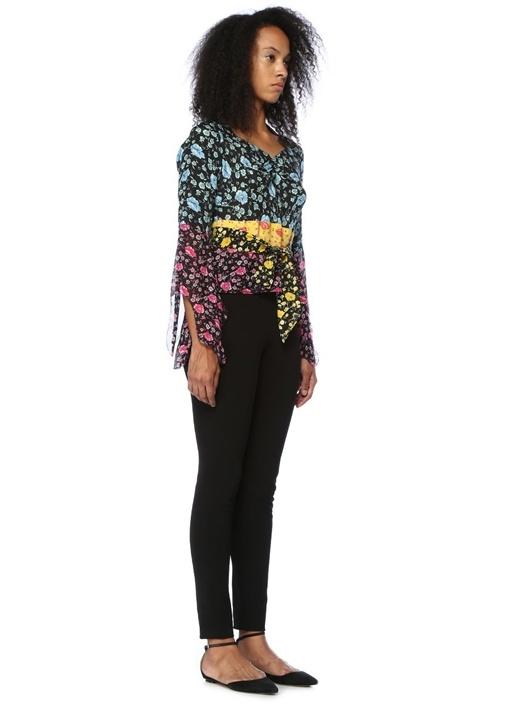 Lavinia Siyah Çiçekli Kuşaklı İpek Bluz