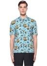 Mavi Tropikal Desenli Kısa Kollu Gömlek