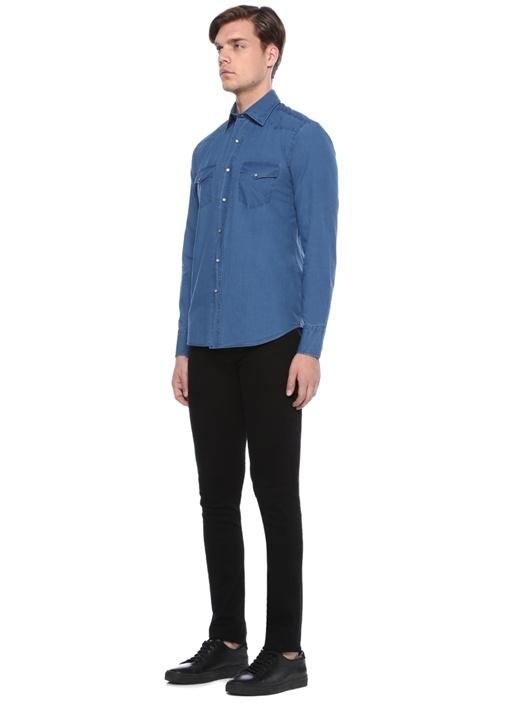 Mavi İngiliz Yaka Denim Görünümlü Gömlek