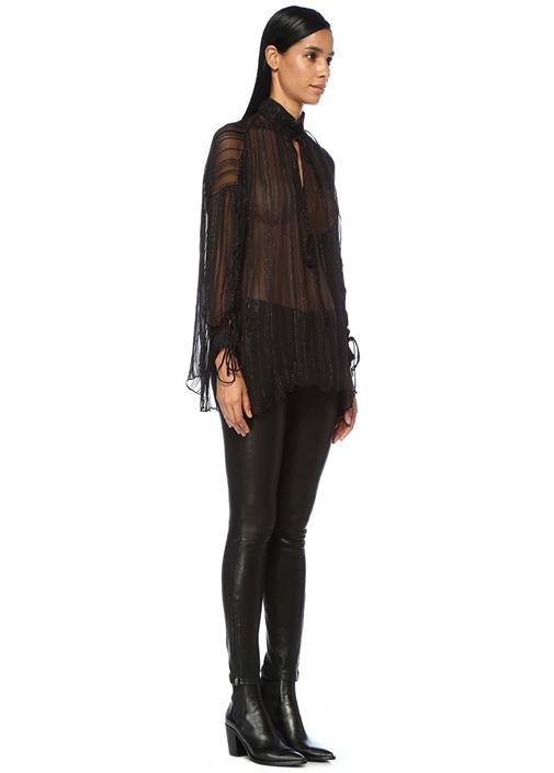 Nights Siyah Simli İpli Önü Bağcıklı Şifon Bluz