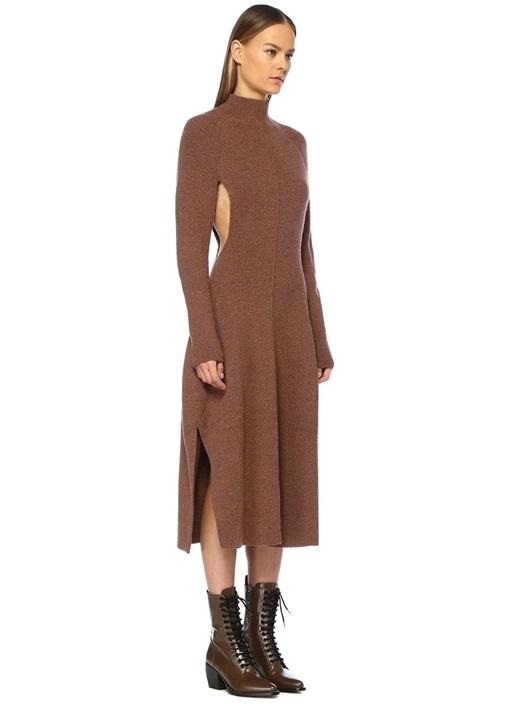 Kahverengi Dik Yaka Dekolteli Midi Triko Elbise