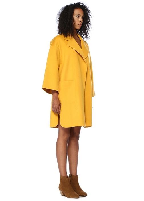 Kimono Sarı Kelebek Yaka Yün Palto
