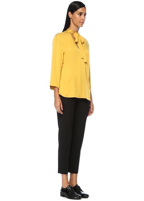 Relaxed Sarı V Yaka Bağcıklı İpek Anvelop Bluz