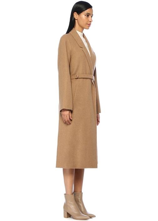 Kamel Kelebek Yaka Kuşaklı Uzun Palto