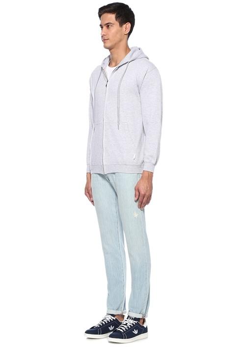 Gri Kapüşonlu Baskılı Nakışlı Sweatshirt