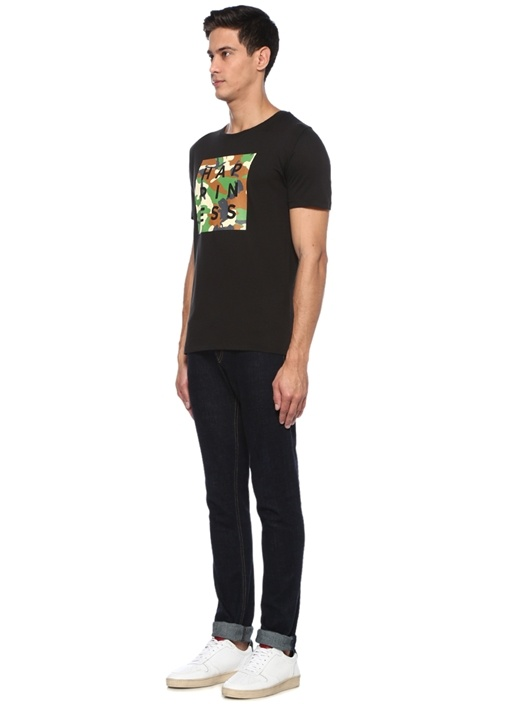 Siyah Bisiklet Yaka Kamuflaj Detaylı T-shirt