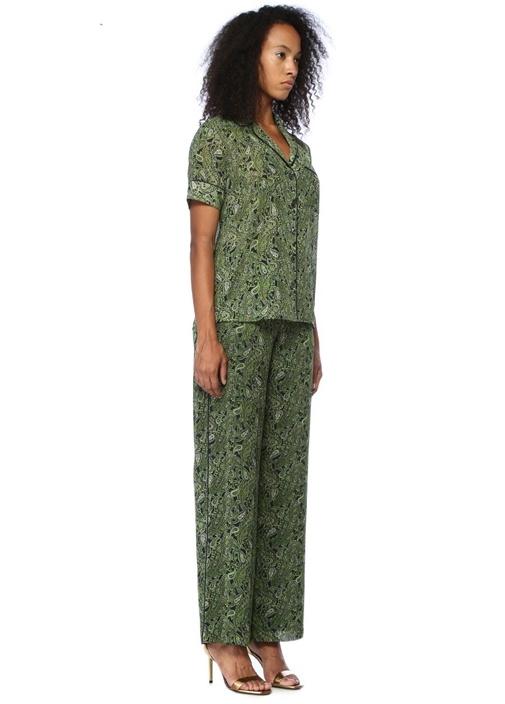 Yeşil Şal Desenli Boru Paça Pantolon