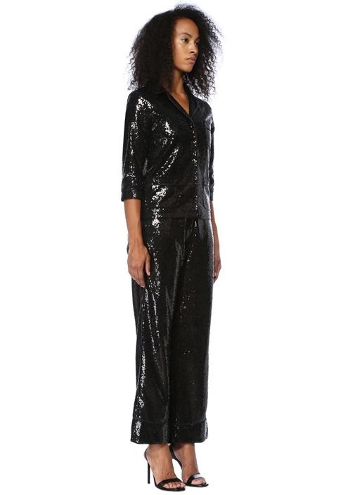 Loren Siyah Payetli Yüksek Bel Pantolon