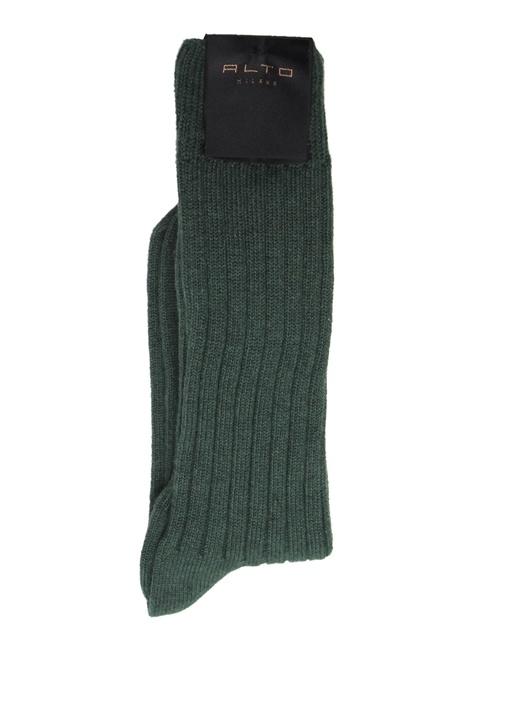 Haki Çizgi Dokulu Erkek Çorap