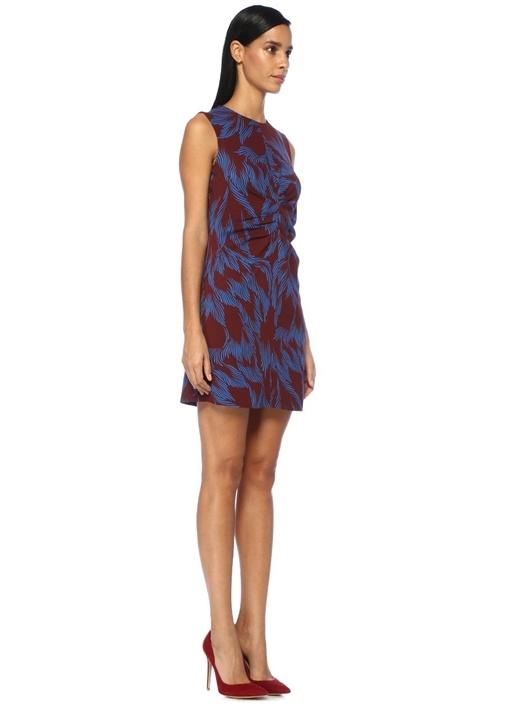 Bordo Mavi Baskılı Büzgü Detaylı Mini Elbise