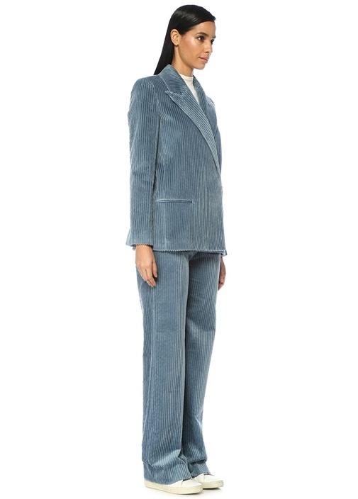 Mavi Yüksek Bel Bol Paça Kadife Pantolon