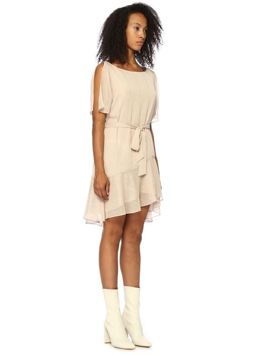 Sibel Pudra Simli Çizgili Kuşaklı Mini Tül Elbise