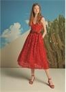 Kırmızı Taşlı Bantlı Kadın Süet Sandalet