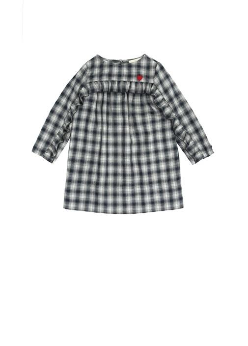 Gri Kareli Fırfır Detaylı Kız Bebek Elbise