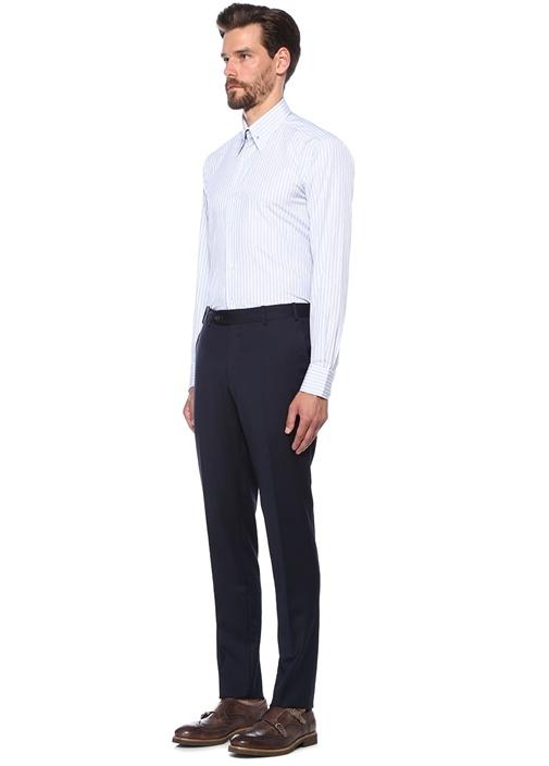 Mavi Beyaz Çizgili Yakası Aksesuar Detaylı Gömlek